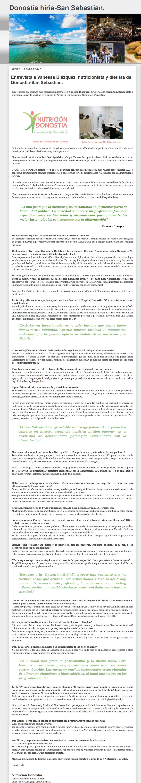 entrevista a nutricion donostia vanessa blazquez