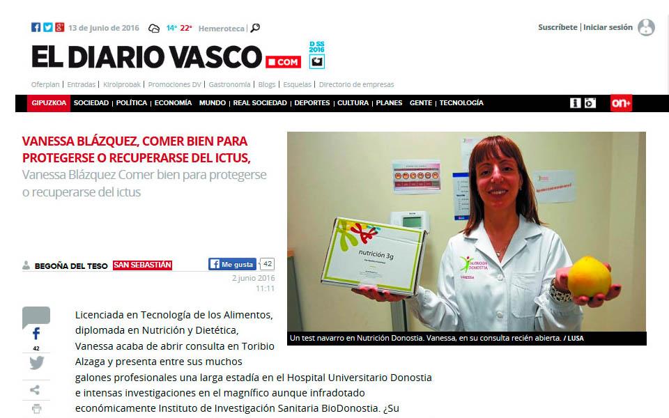Vanessa Blazquez, directora de Nutrición Donostia en El Diario Vasco, en la sección de Begoña Del Teso. Entrevista marcada por la innovación y el desarrollo, y el nuevo test desarrollado por Vanessa Blazquez junto a importantes investigadores navarros